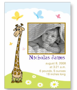 Baby Birth Announcement Cartoon Giraffe Design Postcard from Zazzle.com_1245910156664