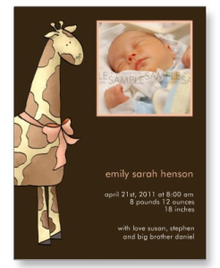 -Giraffe- Brown & Apricot Baby Announcement Postcard from Zazzle.com_1245216997618