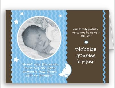 Hush Said the Moon Birth Announcement - boy Card from Zazzle.com_1243870753553