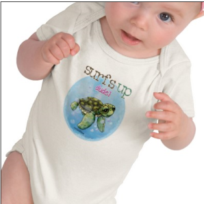Surfer Girl Seaturtle baby onesie T-shirt from Zazzle.com_1246257090985