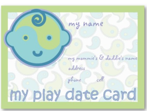 Yoga Speak Baby - Play Date Card Business card from Zazzle.com_1244098366496