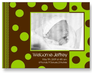 Birth Announcement Postcard -- Polk A Dots 1 from Zazzle.com_1248161223133