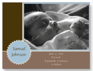 Brown and Blue Photo Announcement (Customizable) Postcard from Zazzle.com_1248762430653