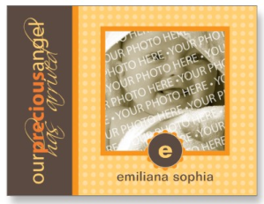 Citrus Precious Angel Flat Birth Announcement Card Postcard from Zazzle.com_1248331017119