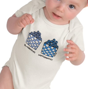 Cute Funny Blueberries Happyberries Baby Onesie T-shirt from Zazzle.com_1247552424198