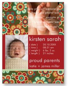 Retro Blooms Birth Announcement Custom Postcard from Zazzle.com_1246690210519