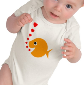 Cute Funny Loving Goldfish Cartoon Baby Onesie T-shirt from Zazzle.com_1249454731045